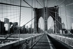 Fototapet (315x232 cm) New York Brooklyn Bridge B/W
