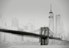 New York Art Illustration Black And White