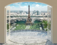 The View fototapet med utsikt över Paris som 3D-tapet
