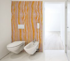 Dekorplast - 90 x 300 cm - Lila & orange marmor