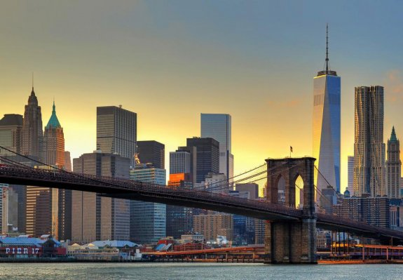 Fototapet med Brooklyn Bridge at sunset
