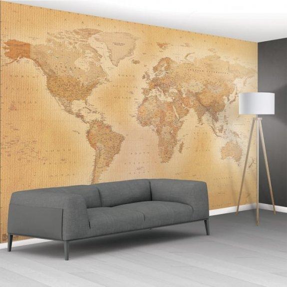 karta fototapet Äldre Världskarta   Size XXL   Unikdekor.se karta fototapet