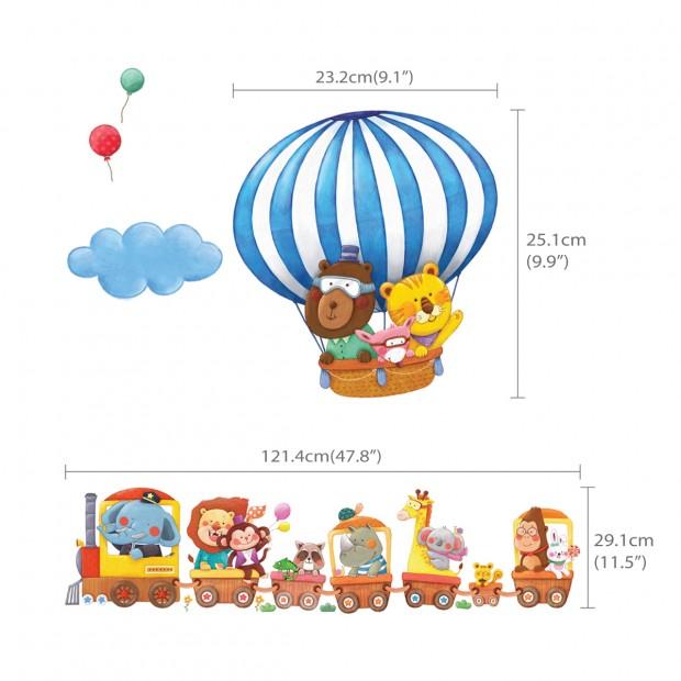 Glada djur i tåg & ballonger - Unikdekor.se