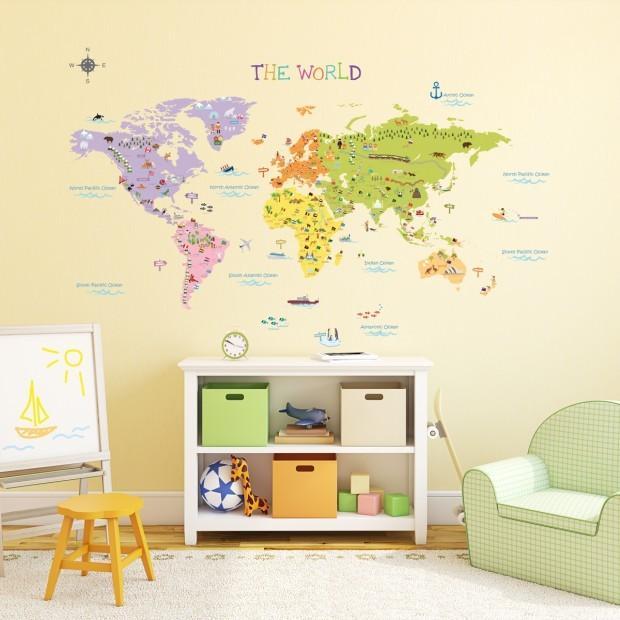 Stor v rldskarta f r barn lek bus - Mappa del mondo contorno ks2 ...