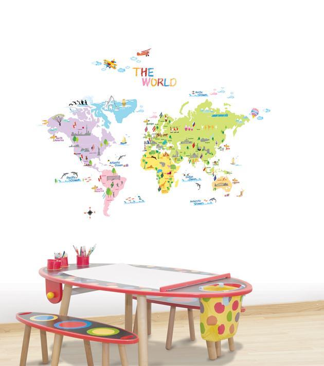 tapet karta barn Världskarta för barn   Lek & bus   Unikdekor.se tapet karta barn